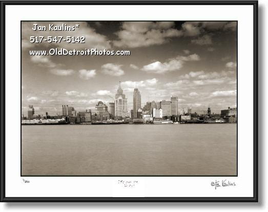 Click on this image to see an enlarged view of DETROIT SKYLINE 1937 photo picture print.