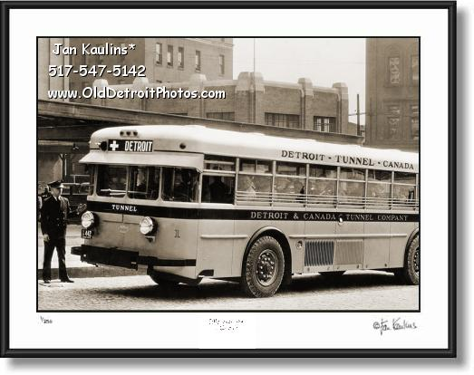 Click on this image to see an enlarged view of DETROIT TUNNEL CANADA OLD BUS photo print.