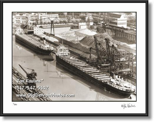 Click on this image to see an enlarged view of FORD ROUGE PLANT ORE BOATS 1946 photo print.