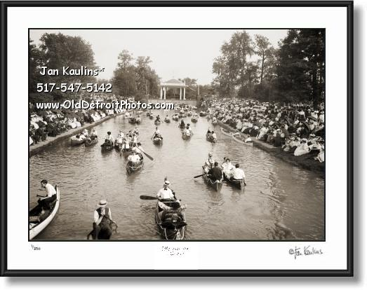Click on this image to see an enlarged view of Old BELLE ISLE DETROIT Canoe Rides photo print.