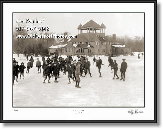 Click on this image to see an enlarged view of BELLE ISLE  SKATING PAVILION 1910 photo print.