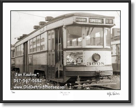 Click on this image to see an enlarged view of PFIEFFERS BEER FIGHT NIGHT Detroit streetcar.