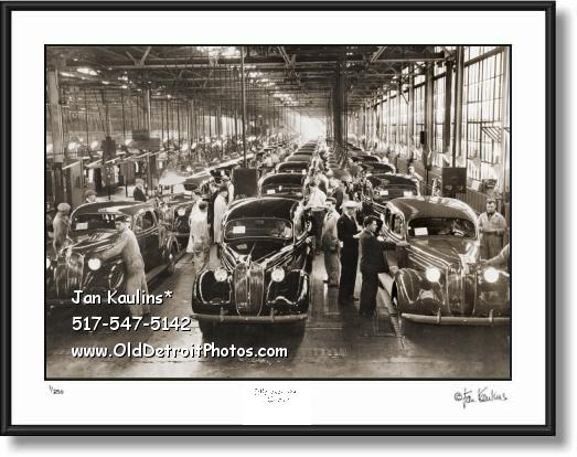 Click on this image to see an enlarged view of 1937 PLYMOUTH ASSEMBLY LINE DETROIT photo.