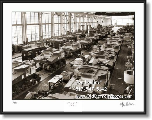 Click on this image to see an enlarged view of Arsenal of Democracy Detroit Tank Assembly Line.