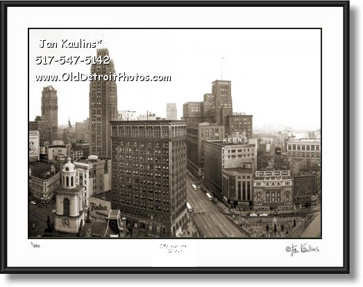 Click on this image to see an enlarged view of VINTAGE DOWNTOWN DETROIT photo print.