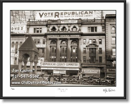 Click on this image to see an enlarged view of DETROIT OPERA HOUSE 1935 photo picture print.