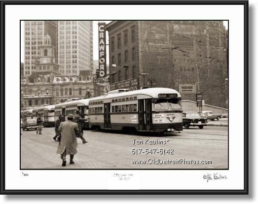 Click on this image to see an enlarged view of DETROIT STREETCARS DOWNTOWN photo print.