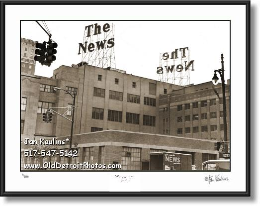 Click on this image to see an enlarged view of Old DETROIT NEWS BUILDING photo picture print.