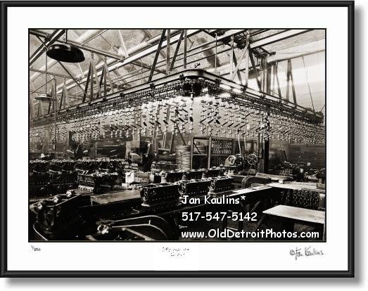 Click on this image to see an enlarged view of FORD ENGINE ASSEMBLY LINE 1919 photo print.