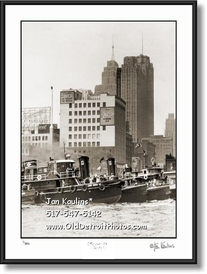 Vintage Detroit TUGBOAT RACE 1951 photo print