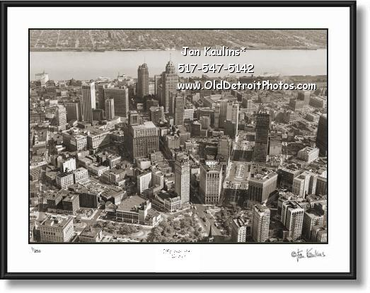 DETROIT SKYLINE OLD AERIAL  photo print #A5