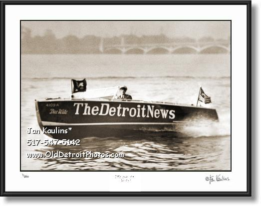 Vintage DETROIT NEWS boat photo print