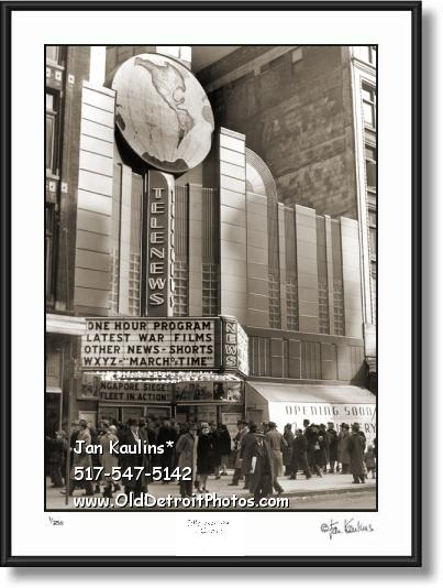 Click on this image to see an enlarged view of OLD DETROIT TELENEWS THEATER photo print.