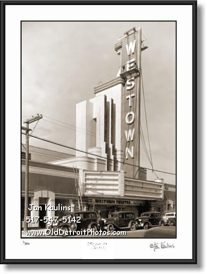 Click on this image to see an enlarged view of OLD DETROIT WESTOWN THEATER photo print.