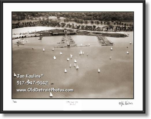 Click on this image to see an enlarged view of DETROIT YACHT CLUB Old DYC Aerial photo print.