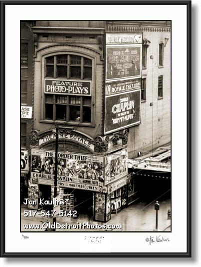 Click on this image to see an enlarged view of OLD DETROIT THEATRE ROYALE photo print.