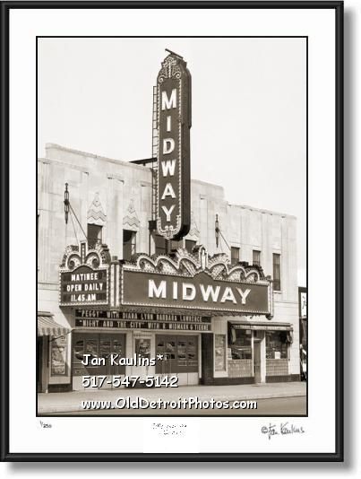 Click on this image to see an enlarged view of Old Detroit Theater MIDWAY photo pictue print .