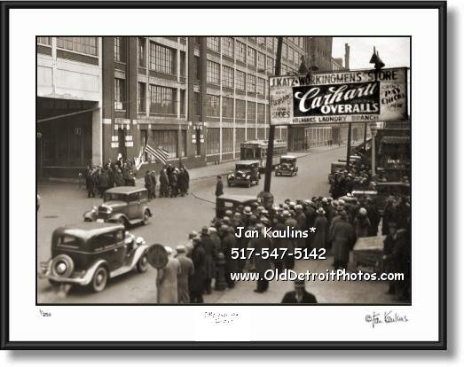 Click on this image to see an enlarged view of CARHARTT SIGN DETROIT old Carhartt photo print.