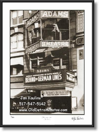 Click on this image to see an enlarged view of OLD Detroit ADAMS MOVIE THEATRE 1929 photo.