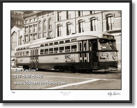 Click on this image to see an enlarged view of DETROIT WOODWARD STREETCAR photo print.