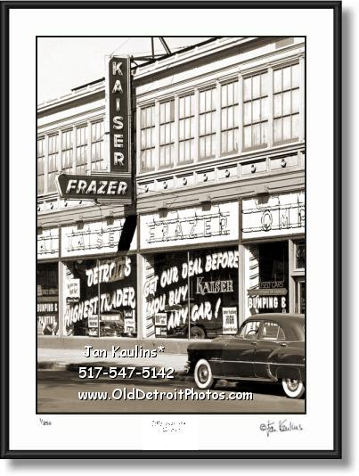 Click on this image to see an enlarged view of KAISER FRAZER Detroit dealership 1952 photo.