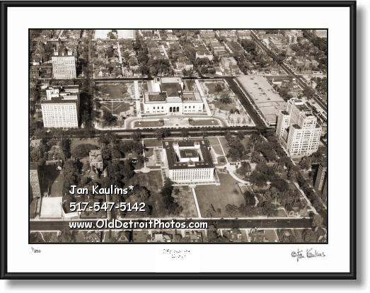 Click on this image to see an enlarged view of Detroit Institute Arts 1930 vintage aerial photo.