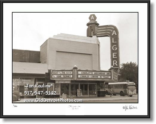 Click on this image to see an enlarged view of ALGER THEATER Detroit Alger photo picture print.