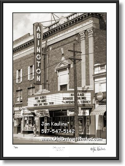 Click on this image to see an enlarged view of Vintage Detroit Movie Theater ABINGTON photo.
