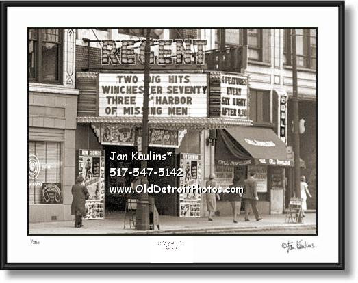 Click on this image to see an enlarged view of Old DETROIT MOVIE THEATER REGENT photo print.