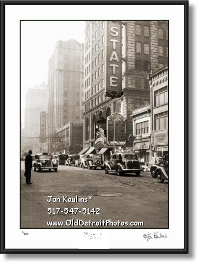 Click on this image to see an enlarged view of Old Vintage STATE THEATER Detroit photo print.